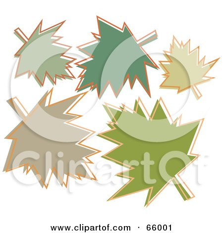 Royalty-Free (RF) Clipart Illustration of a Group Of Green Autumn Leaves by Prawny