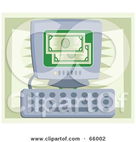 Royalty-Free (RF) Clipart Illustration of Green Bank Notes On A Computer Screen by Prawny