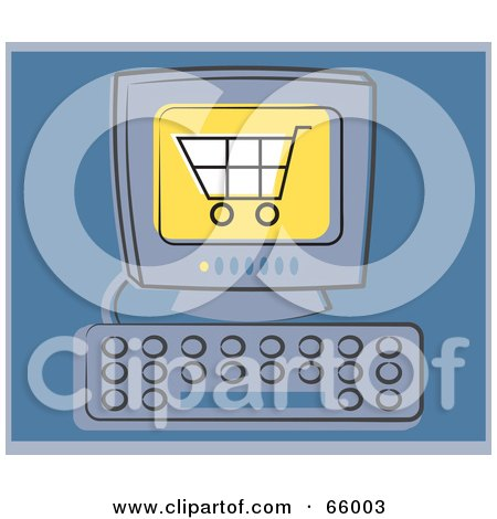 Royalty-Free (RF) Clipart Illustration of a Shopping Cart On A Computer Screen Over Blue by Prawny