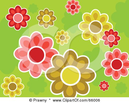 Royalty-Free (RF) Clipart Illustration of a Colorful Flower Design On A Green Background by Prawny