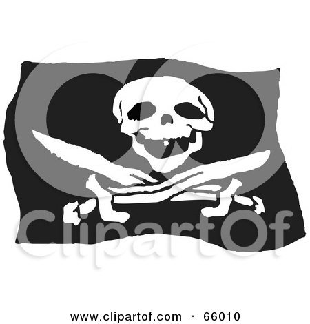 Royalty-Free (RF) Clipart Illustration of a Black And White Jolly ...