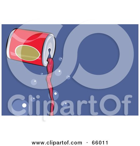 Royalty-Free (RF) Clipart Illustration of a Pouring Can Of Red Soda, With Bubbles Over Blue by Prawny