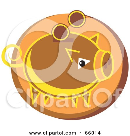 Royalty-Free (RF) Clipart Illustration of a Brown Coin Bank Over An Orange Circle by Prawny