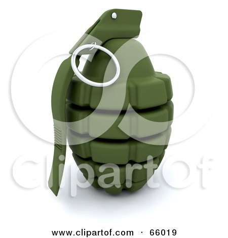 Royalty-Free (RF) Clipart Illustration of a 3d Green Military Hand Grenade by KJ Pargeter