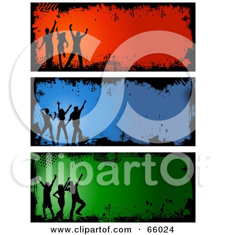 Royalty-Free (RF) Clipart Illustration of a Digital Collage Of Silhouetted Grunge Dancer Headers by KJ Pargeter