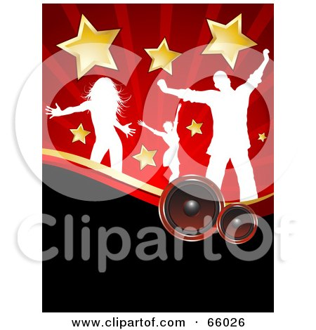 Royalty-Free (RF) Clipart Illustration of a Red And Black Music Background Of White Silhouetted Dancers With Stars, Over Speakers by KJ Pargeter