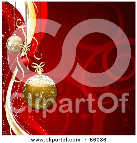 Royalty-Free (RF) Clipart Illustration of a Red Swirl Christmas Background With Gold And Red Baubles by KJ Pargeter