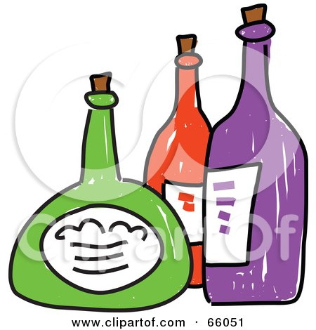 Royalty-Free (RF) Clipart Illustration of Three Sketched Colorful Bottles by Prawny