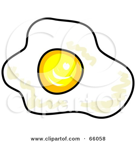 Royalty-Free (RF) Clipart Illustration of a Sketched Sunny Side Up Fried Egg by Prawny