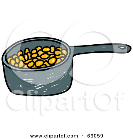 Royalty-Free (RF) Clipart Illustration of a Sketched Pan of Baked Beans by Prawny