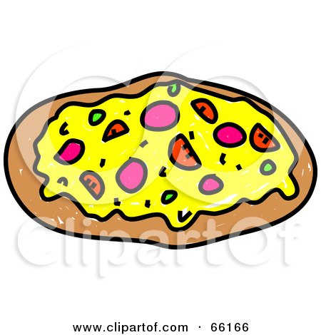Royalty-Free (RF) Clipart Illustration of a Sketched Supreme Pizza by Prawny