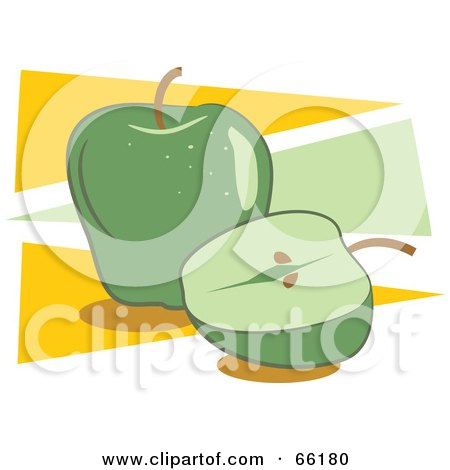 Royalty-Free (RF) Clipart Illustration of Whole And Halved Green Apples On Yellow And Green by Prawny