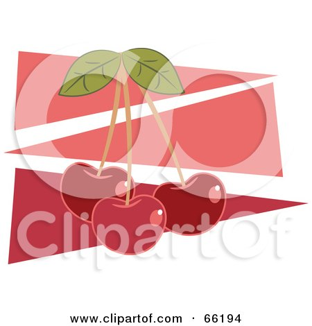 Royalty-Free (RF) Clipart Illustration of Three Red Cherries Over Pink Triangles by Prawny
