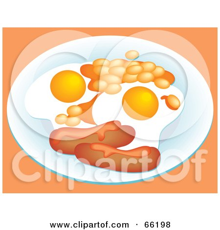 Royalty-Free (RF) Clipart Illustration of a Breakfast Plate Served With Sausage Links And Fried Eggs by Prawny