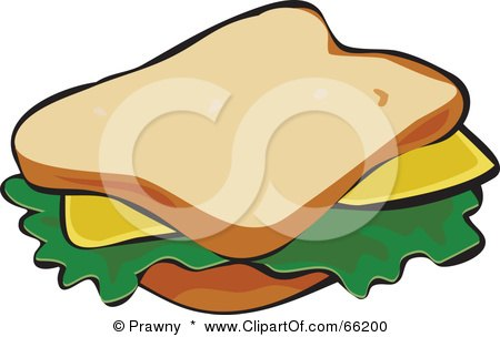 Royalty-Free (RF) Clipart Illustration of a Cheese Sandwich On White Bread by Prawny