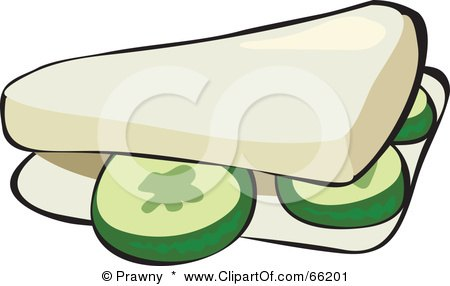 Royalty-Free (RF) Clipart Illustration of a Cucumber Sandwich On White Bread by Prawny