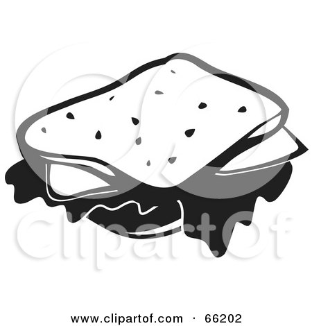 Royalty-Free (RF) Clipart Illustration of a Black And White Cheese Sandwich by Prawny