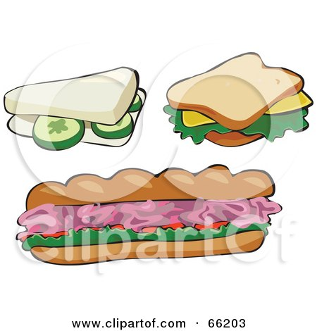 Royalty-Free (RF) Clipart Illustration of a Digital Collage Of Cucumber, Cheese And Ham Sandwiches by Prawny