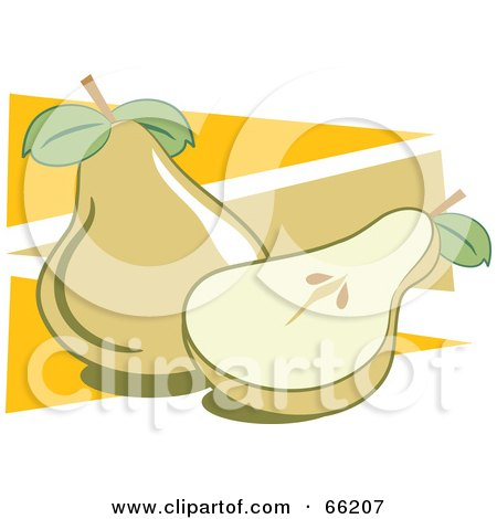 Royalty-Free (RF) Clipart Illustration of Whole And Halved Pears On Orange Triangles by Prawny
