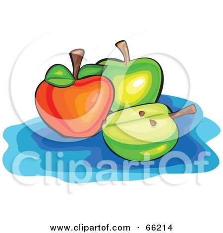 Royalty-Free (RF) Clipart Illustration of Whole And Halved Green And Red Apples On Blue by Prawny