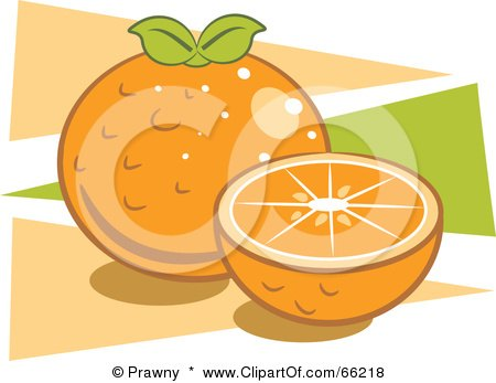 Royalty-Free (RF) Clipart Illustration of Oranges Over Orange And Green Triangles by Prawny