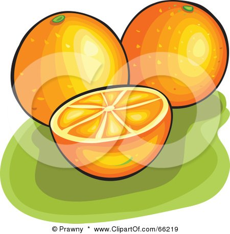 Royalty-Free (RF) Clipart Illustration of Whole And Halved Oranges On Green by Prawny