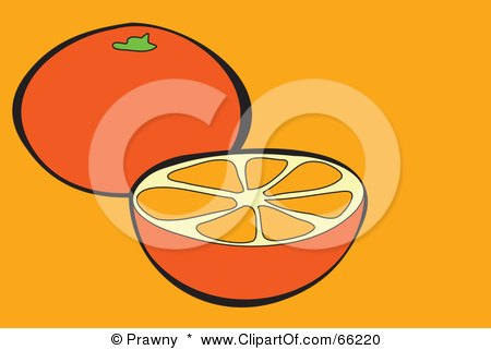 Royalty-Free (RF) Clipart Illustration of a Halved Orange Over Orange by Prawny