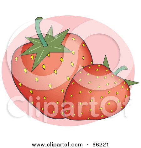 Royalty-Free (RF) Clipart Illustration of Two Red Seeded Strawberries On Pink by Prawny