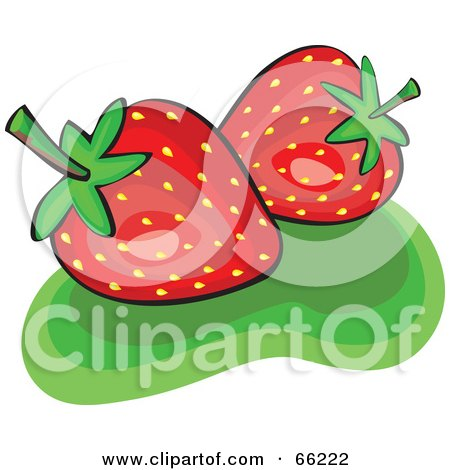 Royalty-Free (RF) Clipart Illustration of Two Shiny Strawberries On Green by Prawny