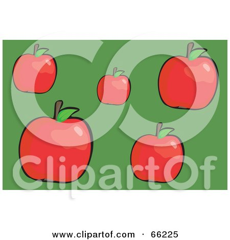 Royalty-Free (RF) Clipart Illustration of Red Apples With Leaves On Green by Prawny