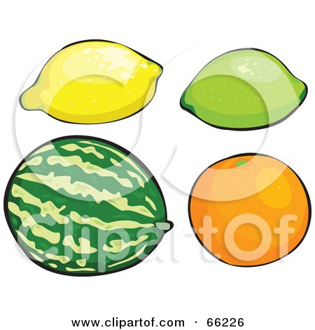 Royalty-Free (RF) Clipart Illustration of a Digital Collage Of Fruits; Lemon, Lime, Watermelon And Orange by Prawny