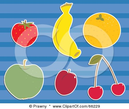 Royalty-Free (RF) Clipart Illustration of a Digital Collage Of Fruits; Strawberry, Banana, Orange, Apple, Plum And Cherries by Prawny