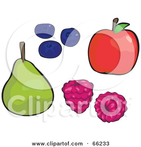 Royalty-Free (RF) Clipart Illustration of a Digital Collage Of Fruits; Pear, Blueberries, Raspberries And Apple by Prawny