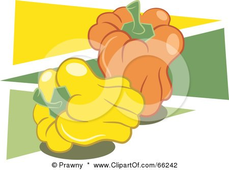 Royalty-Free (RF) Clipart Illustration of Yellow And Orange Bell Peppers Over Green And Yellow Triangles by Prawny