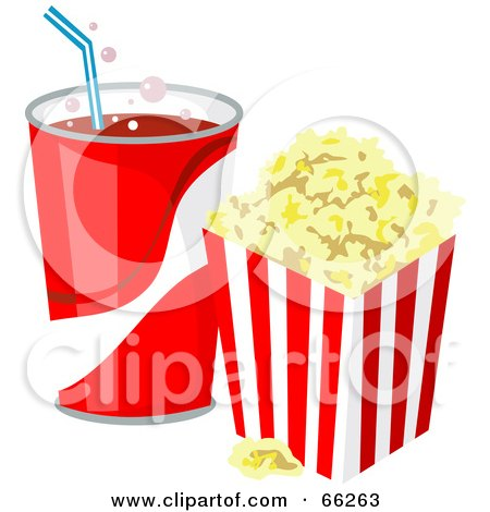 Royalty-Free (RF) Clipart Illustration of a Fountain Soda With Buttered Popcorn by Prawny