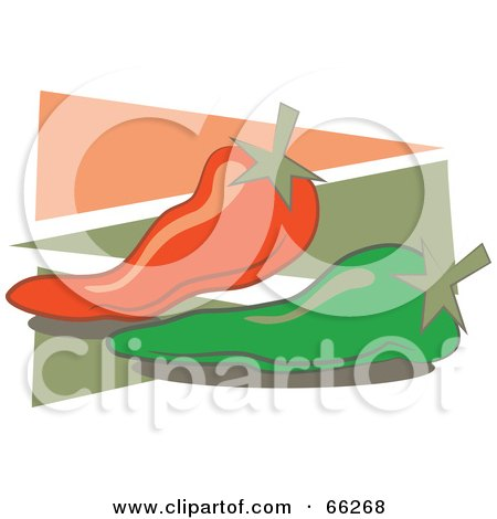 Royalty-Free (RF) Clipart Illustration of Chili Peppers Over Green And Red Triangles by Prawny