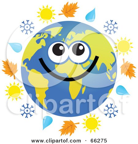 Royalty-Free (RF) Clipart Illustration of a Global Face Character With Autumn Leaves, Rain Drops, Snowflakes and Suns by Prawny