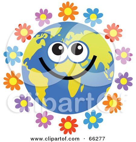 Royalty-Free (RF) Clipart Illustration of a Global Face Character With Flowers by Prawny