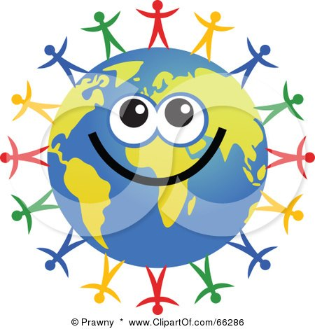 Royalty-Free (RF) Clipart Illustration of a Global Face Character With Diverse People by Prawny