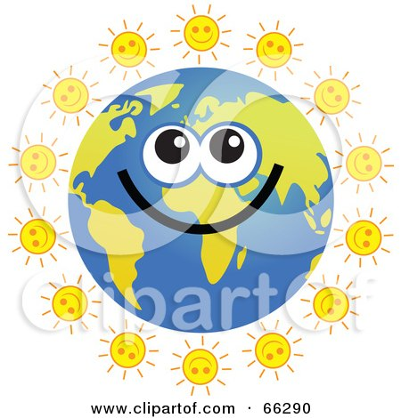 Royalty-Free (RF) Clipart Illustration of a Global Face Character With Suns by Prawny