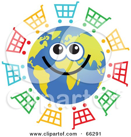 Royalty-Free (RF) Clipart Illustration of a Global Face Character With Shopping Carts by Prawny