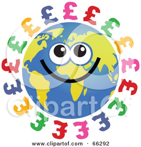 Royalty-Free (RF) Clipart Illustration of a Global Face Character With Pound Symbols by Prawny