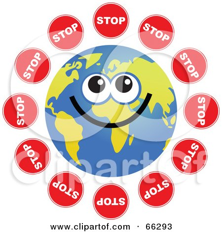 Royalty-Free (RF) Clipart Illustration of a Global Face Character With Stop Signs by Prawny