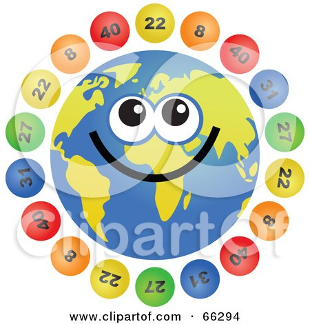 Royalty-Free (RF) Clipart Illustration of a Global Face Character With Lottery Balls by Prawny