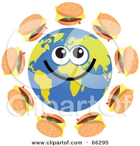 Royalty-Free (RF) Clipart Illustration of a Global Face Character With Cheeseburgers by Prawny
