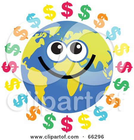 Royalty-Free (RF) Clipart Illustration of a Global Face Character With Dollar Symbols by Prawny