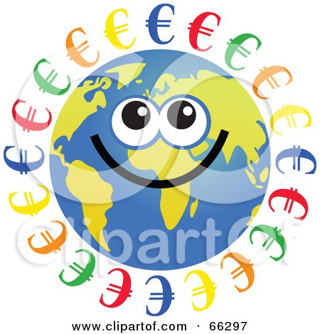 Royalty-Free (RF) Clipart Illustration of a Global Face Character With Euro Symbols by Prawny