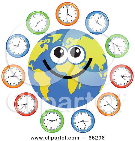Royalty-Free (RF) Clipart Illustration of a Global Face Character With Clocks by Prawny