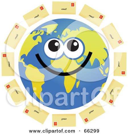 Royalty-Free (RF) Clipart Illustration of a Global Face Character With Email Envelopes by Prawny