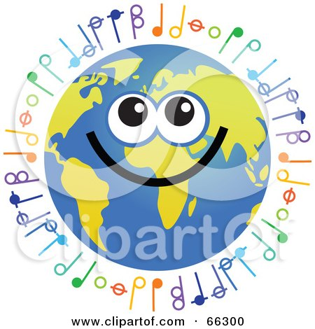 Royalty-Free (RF) Clipart Illustration of a Global Face Character With Music Notes by Prawny
